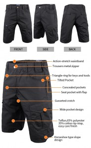 Black color tactical short pants
