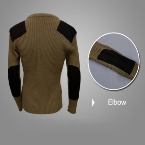 Wool acrylic khaki desert police tactical pullover