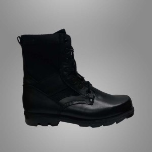 Military black leather boots