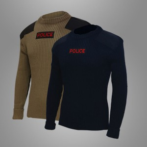 Wool polyester dark navy blue police combat pullover