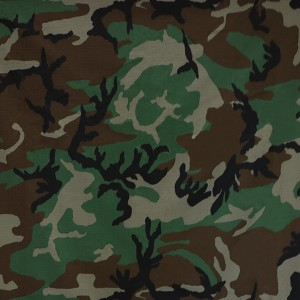 Ripstop polyester cotton woodland camouflage fabric