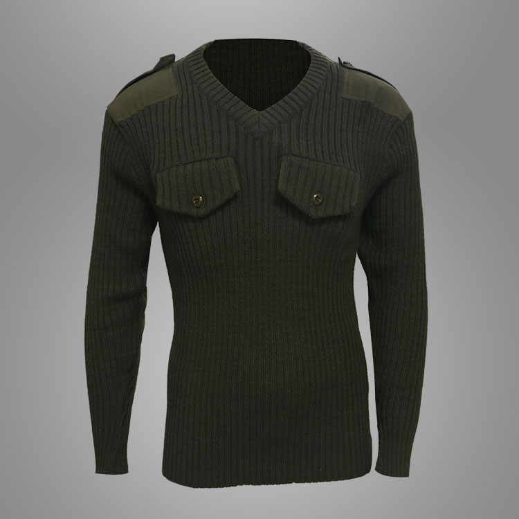 100%wool olive green military combat pullover Featured Image